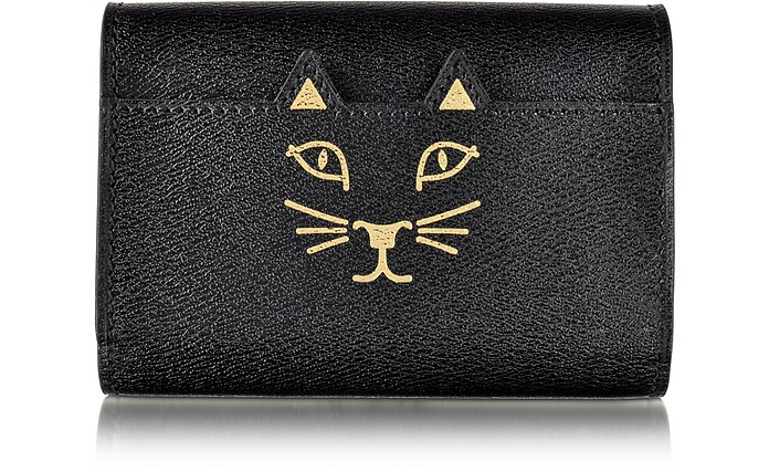 Feline Mini Black Leather Wallet - Charlotte Olympia