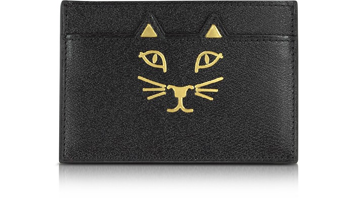 Feline Grained Leather Card Holder - Charlotte Olympia