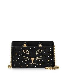 Feline Black Studded Suede Purse - Charlotte Olympia