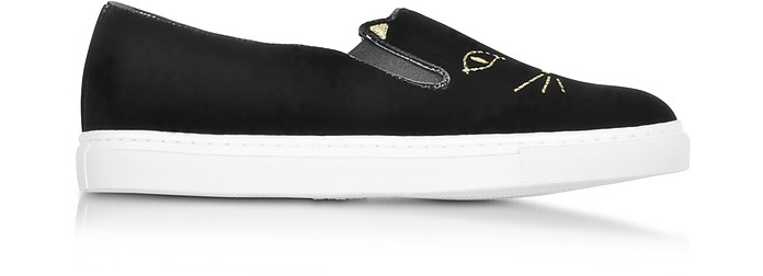 Cool Cats Black Velvet Slip On Sneaker - Charlotte Olympia