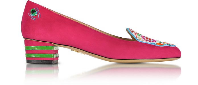 Day of The Dead Fiesta Pink Suede Mid-heel Pump - Charlotte Olympia