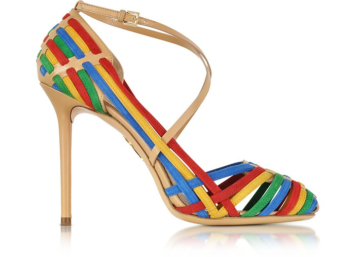 Mariachi Heels Multicolor Woven Leather and Suede Pump - Charlotte Olympia
