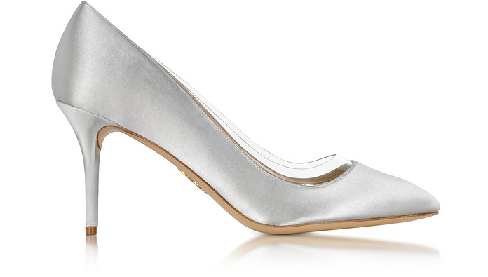 Charlotte Olympia Designer Shoes, Party Shoes 85 Satin Silk & PVC Pump