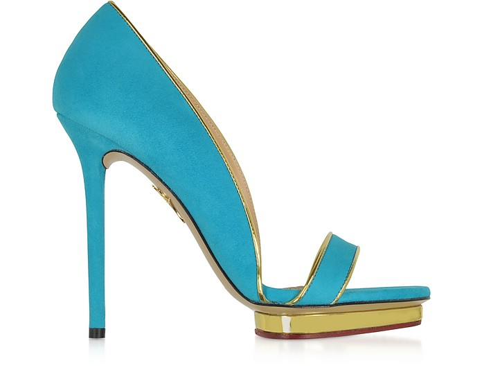 Christine 125 Swimming Pool Blue Suede Platform Sandal - Charlotte Olympia