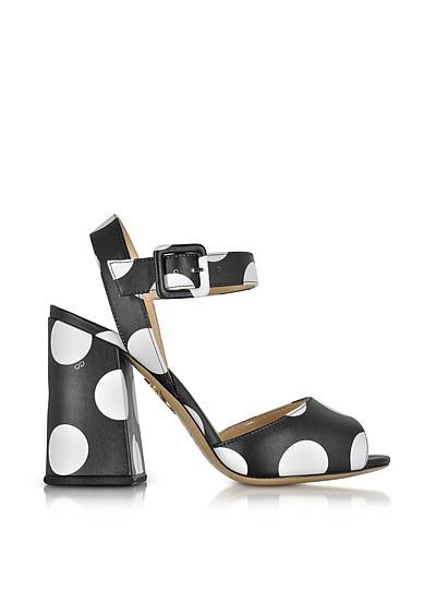 Emma Black Polka Dot Print Leather Sandal - Charlotte Olympia