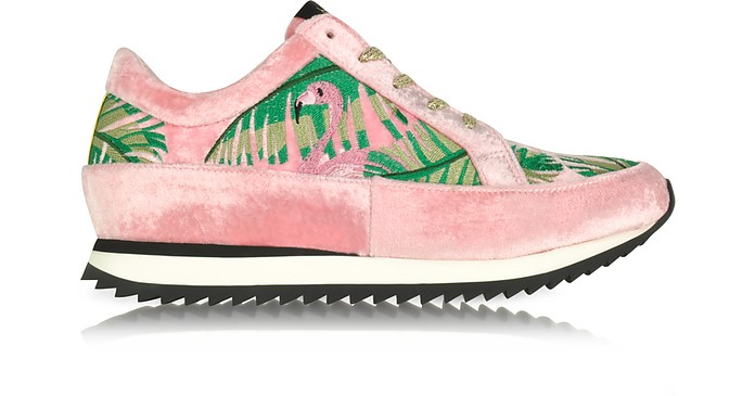 Work It Flamingo Pink Velvet Lace Up Sneakers - Charlotte Olympia