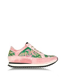 Work It Flamingo Pink Velevet Lace Up Sneakers - Charlotte Olympia