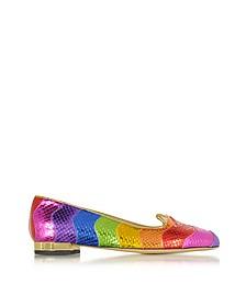 Snake Print Rainbow Kitty Flat Ballerinas - Charlotte Olympia
