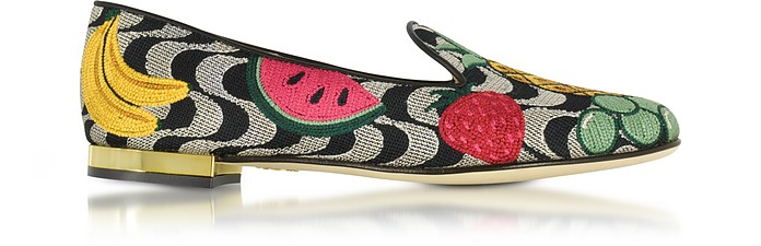 Fruit Salad Slipper in Canvas Ricamato - Charlotte Olympia