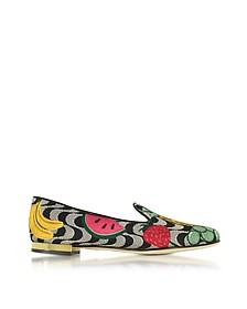Fruit Salad Embroidered Canvas Slippers - Charlotte Olympia