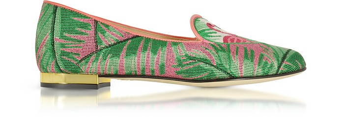 Flamingo Embroidered Canvas Slippers W/Leather Trim - Charlotte Olympia