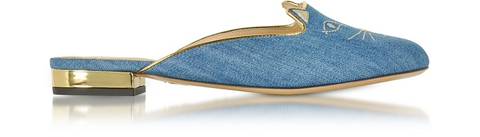 Light Denim & Gold  Kitty Slippers - Charlotte Olympia