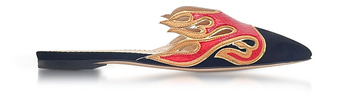 Black Suede and Red Snake-Printed Leather Flaming Slide Mules - Charlotte Olympia
