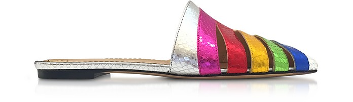 Metallic Snake-Print Leather Technicolor Slides - Charlotte Olympia