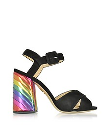 Emma Black Suede and Rainbow Patent Leather High Heel Sandals - Charlotte Olympia