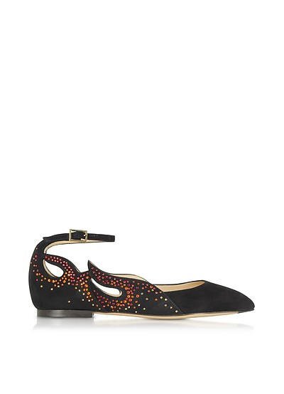 Feelin' Hot Hot Hot! Black Suede Ballerinas - Charlotte Olympia