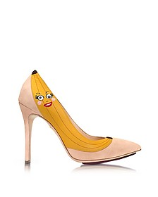 Chiquita Blush Suede Pump w/Banana Applique - Charlotte Olympia