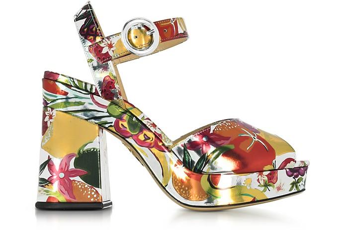 Into The Wild Fruit Salad Print Metallic Leather Platform Sandal - Charlotte Olympia