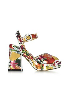 Into The Wild Fruit Salad Print Metallic Leather Platform Sandal - Charlotte Olympia