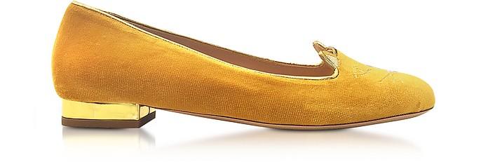 Yellow Velvet Kitty Flats - Charlotte Olympia