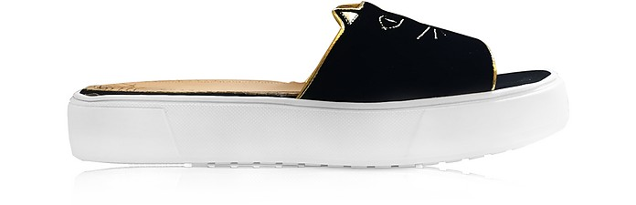 Black Velvet Kitty Pool Sliders - Charlotte Olympia