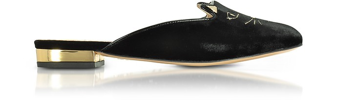 Black Velvet Kitty Slippers - Charlotte Olympia