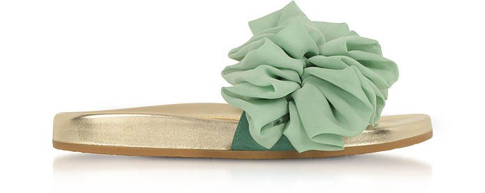 Metallic Nappa Leather and Aquamarine Organza Flat Slide Sandals - Charlotte Olympia