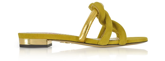 Thalia Olive Green Suede and Gold Metallic Leather Slide Sandals  - Charlotte Olympia / シャーロットオリンピア