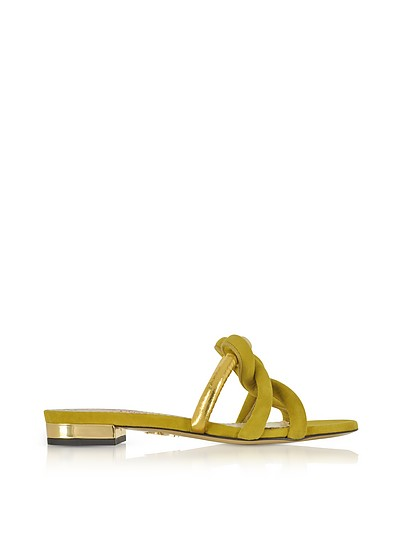 Thalia Olive Green Suede and Gold Metallic Leather Slide Sandals  - Charlotte Olympia