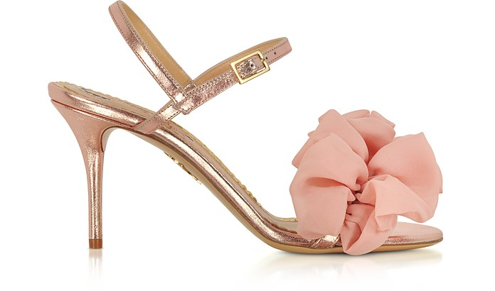 Reia Rose Gold Metallic Leather and Pink Organza Heel Sandals - Charlotte Olympia