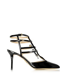 Moma Black Patent Leather and Velour Sandal