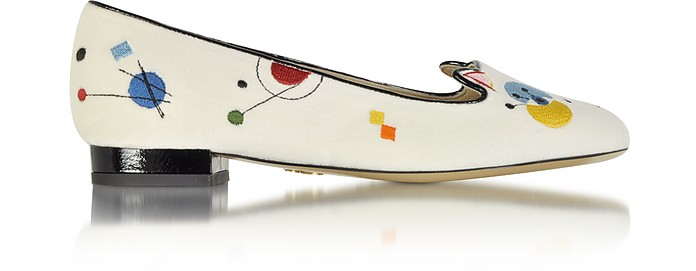Abstract Kitty Slipper in Velluto Bianco Stampa Kandinsky - Charlotte Olympia