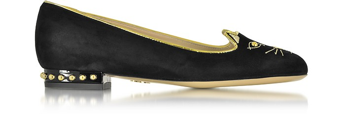 Kitty Studs Suede and Patent Leather Loafer - Charlotte Olympia