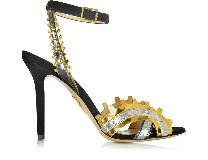 High Gear Black Suede and Metallic Leather Sandal - Charlotte Olympia