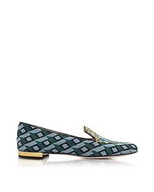 Lady Liberty Multicolor Embroidered Canvas Slipper - Charlotte Olympia