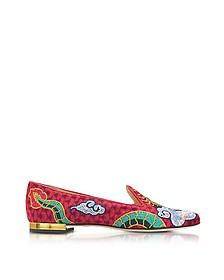 Dragon Multicolor Embroidered Canvas Slipper - Charlotte Olympia