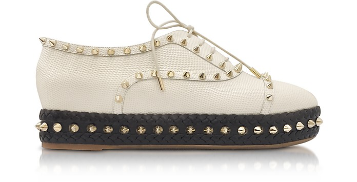 Charlotte Olympia Designer Shoes, Hoxton Ivory Embossed Leather Platform Shoes