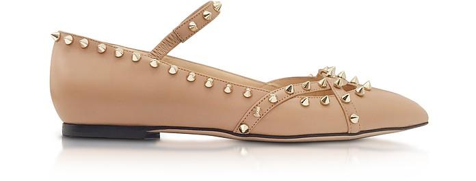 Kensington Nude Leather Flat - Charlotte Olympia