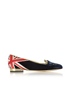 GB Multicolor Velvet Kitty Flat - Charlotte Olympia