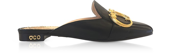 Black Leather Mules - Charlotte Olympia