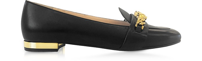 Black Leather Loafers - Charlotte Olympia