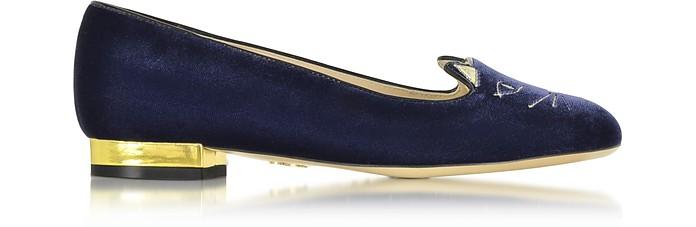 Navy Blue Velvet Kitty Flats - Charlotte Olympia