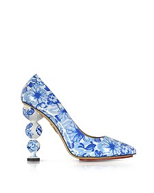 Ming Blue Koi Print Patent Leather Court Pump