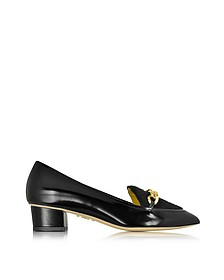 Francis Black Leather Shoe w/Chain Detail