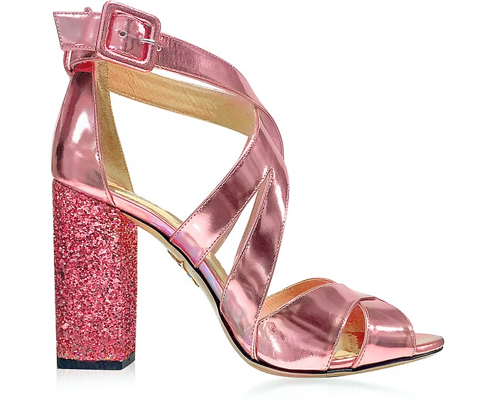 Apollo Rose Quartz Metallic Leather and Glitter Sandal - Charlotte Olympia / シャーロットオリンピア