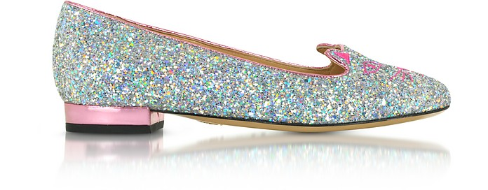 Kitty Fantasy Silver Glitter and Rose Quartz Metallic Leather Flats - Charlotte Olympia