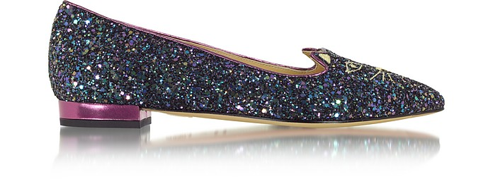 Mid-Century Kitty Night Sky Blue and Amethyst Glitter Pointy Flat - Charlotte Olympia