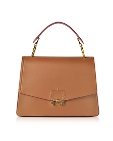 Pecan Brown Leather Arianna Top Handle Satchel Bag - Paula Cademartori