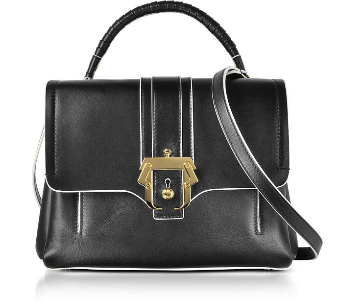 Black Leather Petite Faye Top Handle Satchel Bag - Paula Cademartori