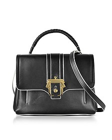 Black Leather Petite Faye Top Handle Satchel Bag - Paula Cademartori